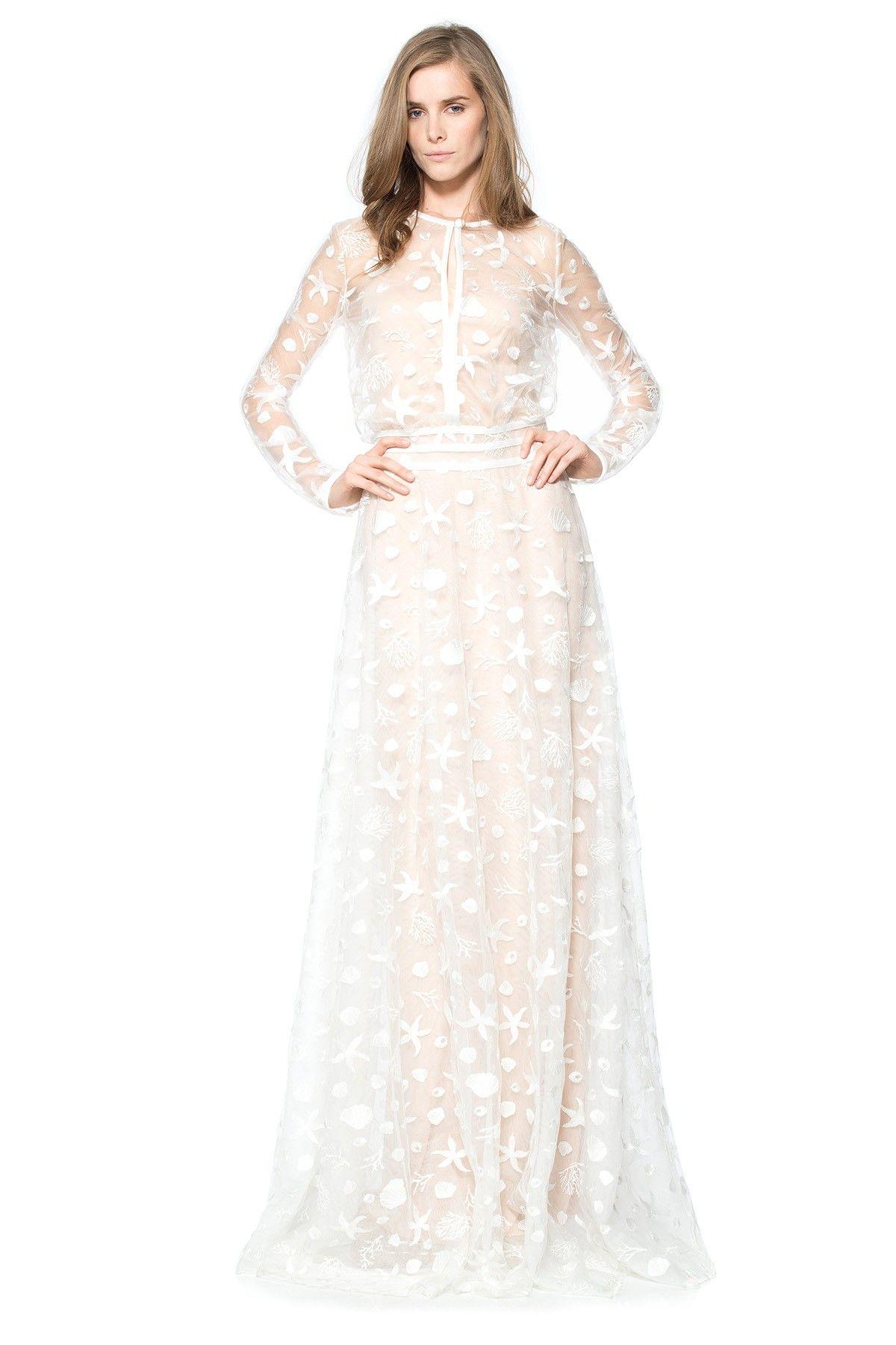 Starfish embroidered tulle long sleeve gown tadashi for Tadashi shoji wedding dresses