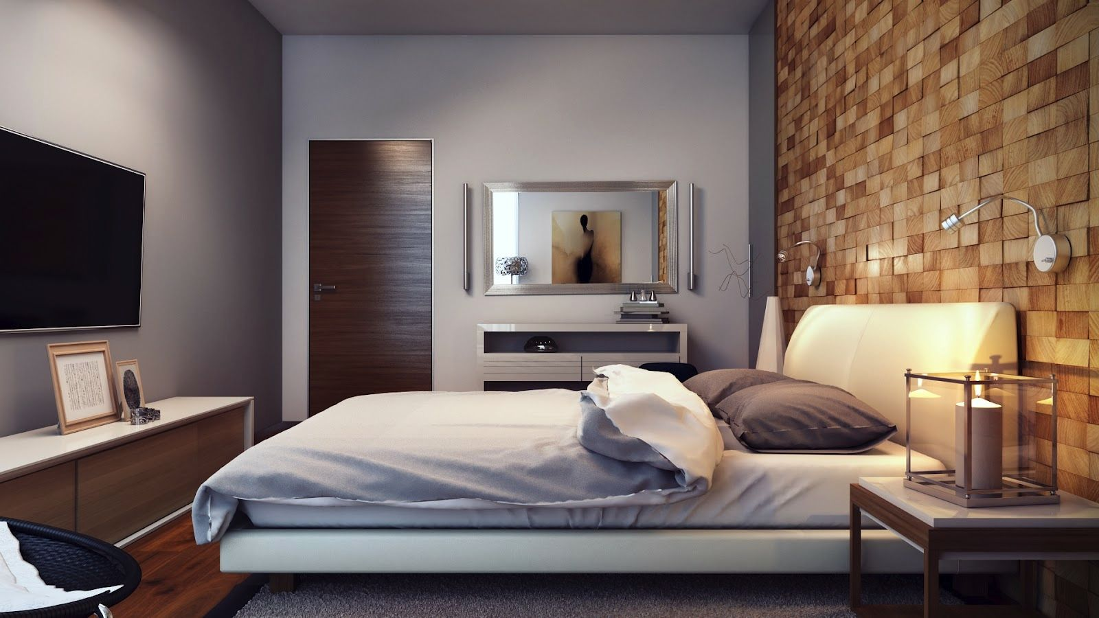 feature walls in living rooms ideas. Light Gray Colour Design Partly Wall Laminate Wooden Floor Brown  Tiles Texturing On Room White Bed Sofa With Simple And Beautiful Minimalist Bedroom Stainless Steel Modern