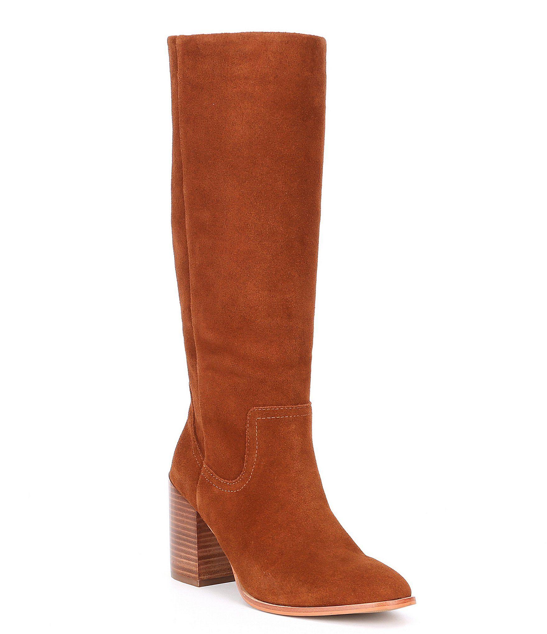 pelo puramente Oriental  Steve Madden Impact Tall Suede Stacked Block Heel Boots - Chestnut Suede  8.5M | Block heel boots, Boots, Heeled boots