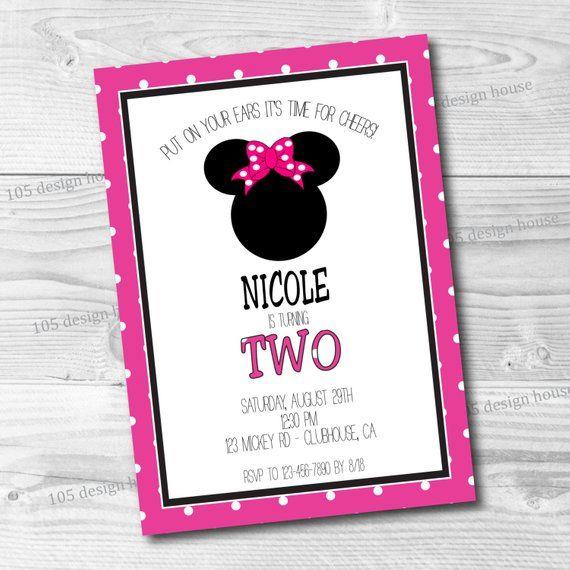 Minnie Mouse Invitation Printable Minnie Mouse Birthday Minnie