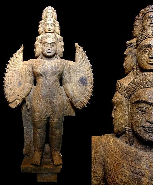 KHMER MULTI-ARMED AVALOKITESHVARA Angkor Period, Style of Bayon 12th - 13th Century SandstoneTevoda Galleria - Khmer Sculptures & Antiques