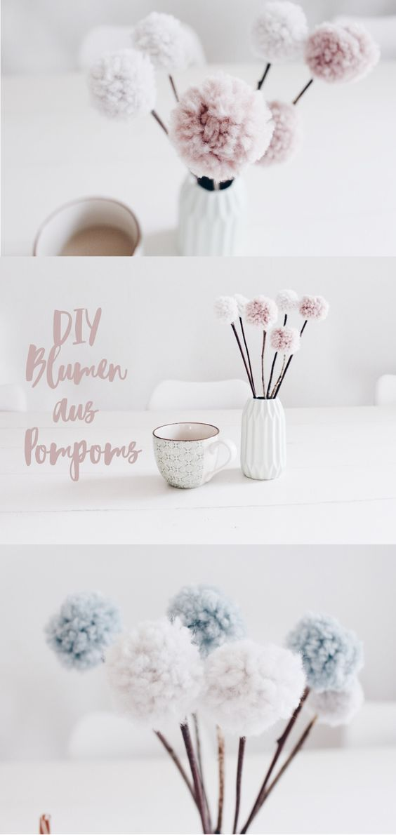 pom pom blumen tischdekoration mal anders ideen diy blumen diy deko und dekoration. Black Bedroom Furniture Sets. Home Design Ideas