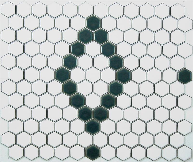 Atrium Kios Gris Glazed Porcelain Floor Tile: Lyric Glazed Porcelain Mosaic Hex Tile Pattern In Diamond