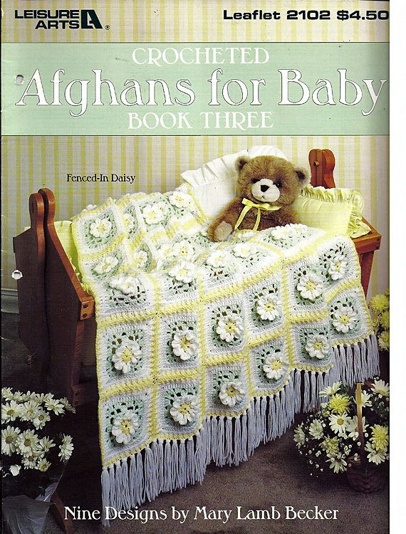 Crocheted Afghans For Baby Book Three Crochet Pattern Book Leisure ...
