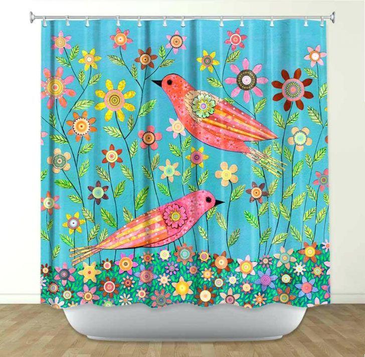 Designs Bohemian Birds By Fabric Shower Curtain Bohemian Shower ...