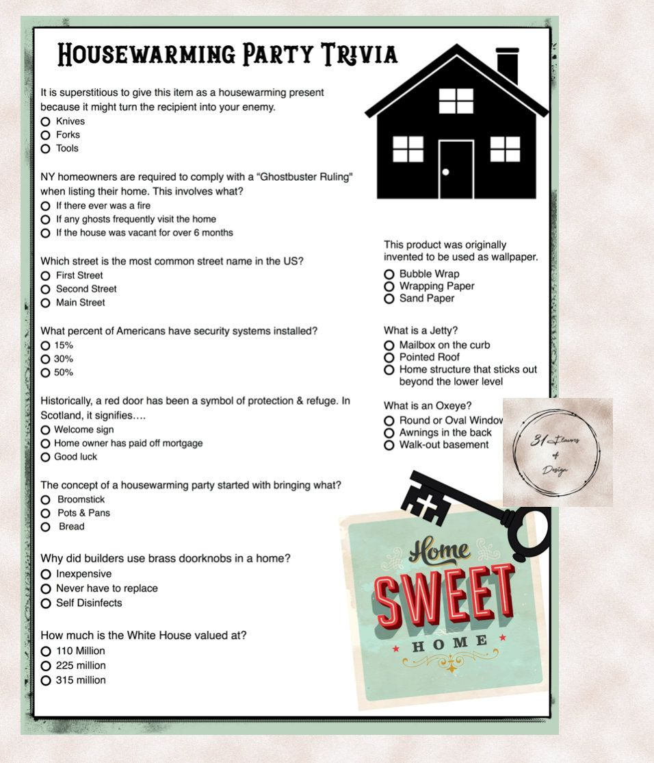 House Warming Party Trivia Game | House Trivia | New Home Trivia ...