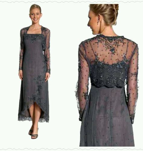Mother Of The Bride Dress SILK W/ Bolero JCKT Charcoal