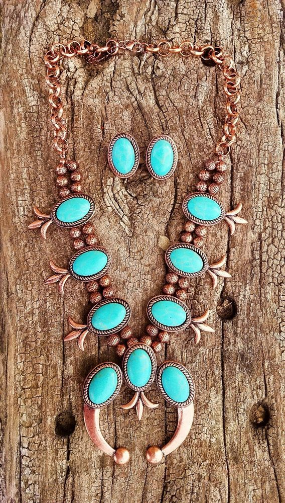 COWGIRL Bling Southwest Copper Turquoise SQUASH BLOSSOM Western NECKLACE SET #TRUE