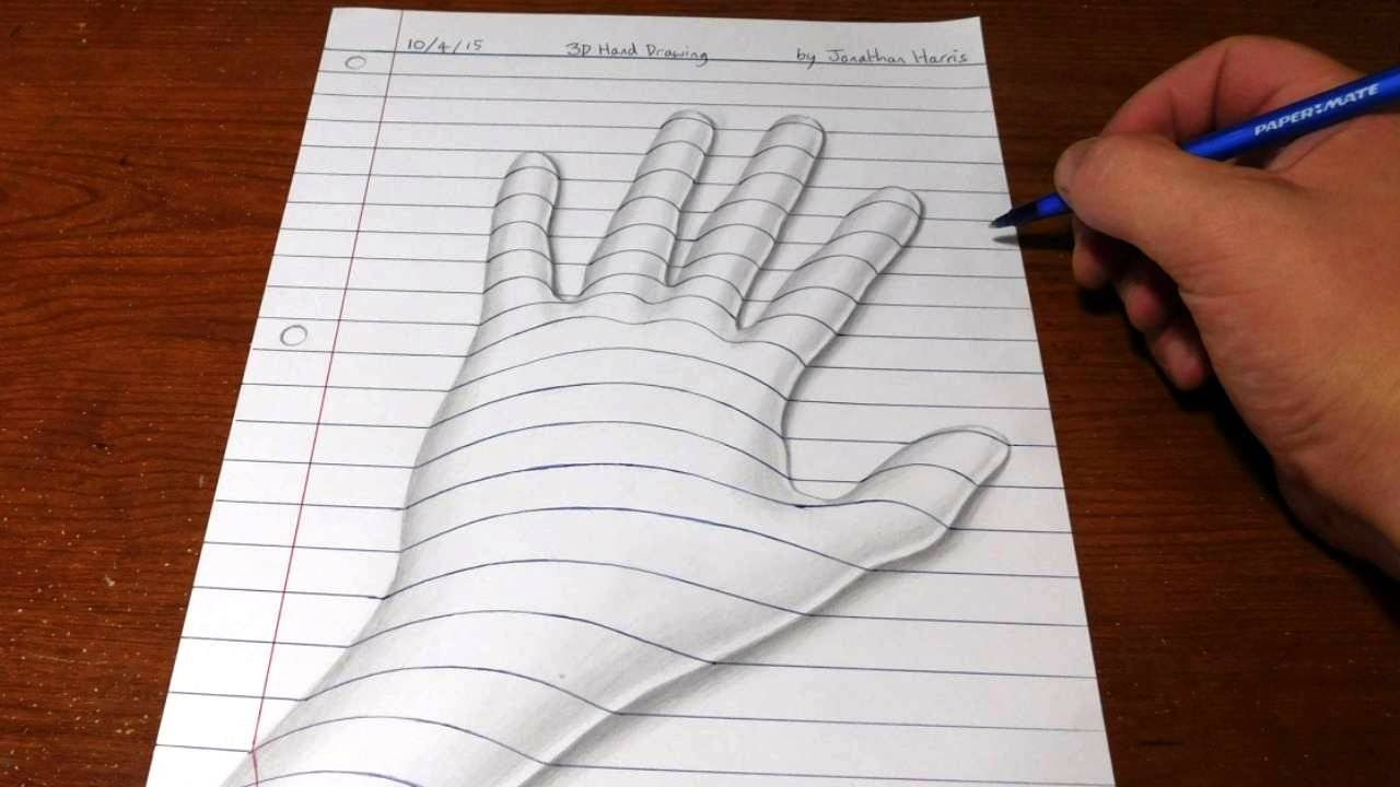 How To Draw A 3d Hand Line Paper Trick Art Optical Illusion Drawing