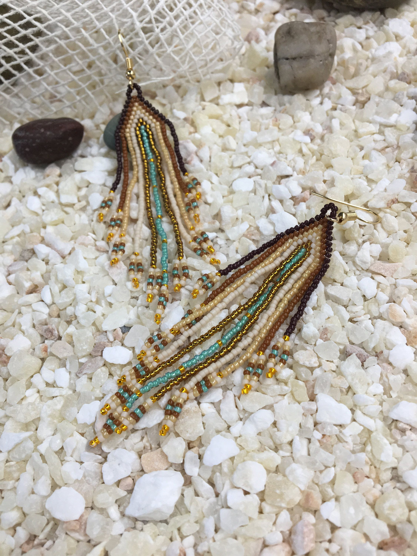 Long tassel delicate beaded earrings