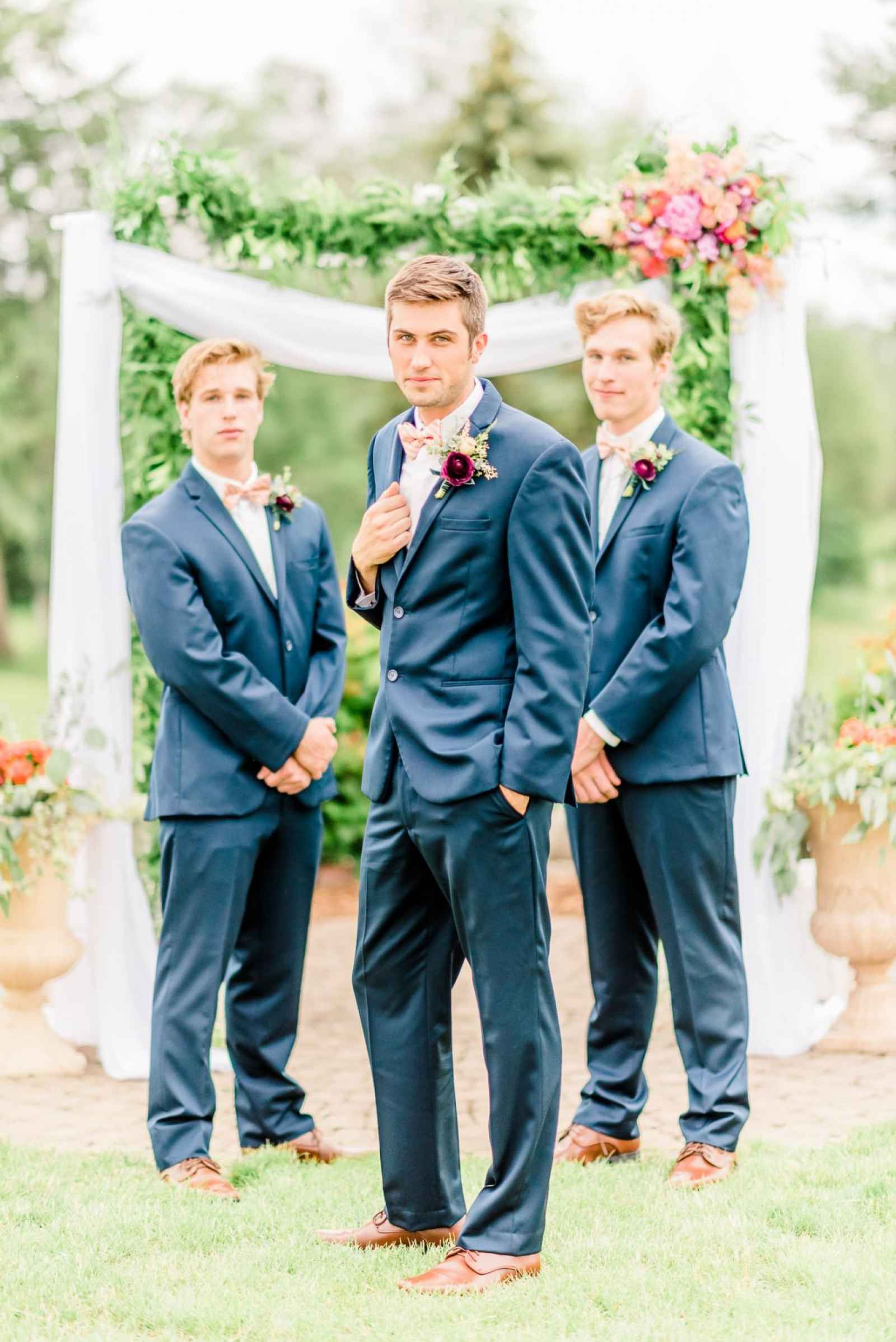Groom and groomsmen in navy suits - A Bold, Boho Style Shoot in ...