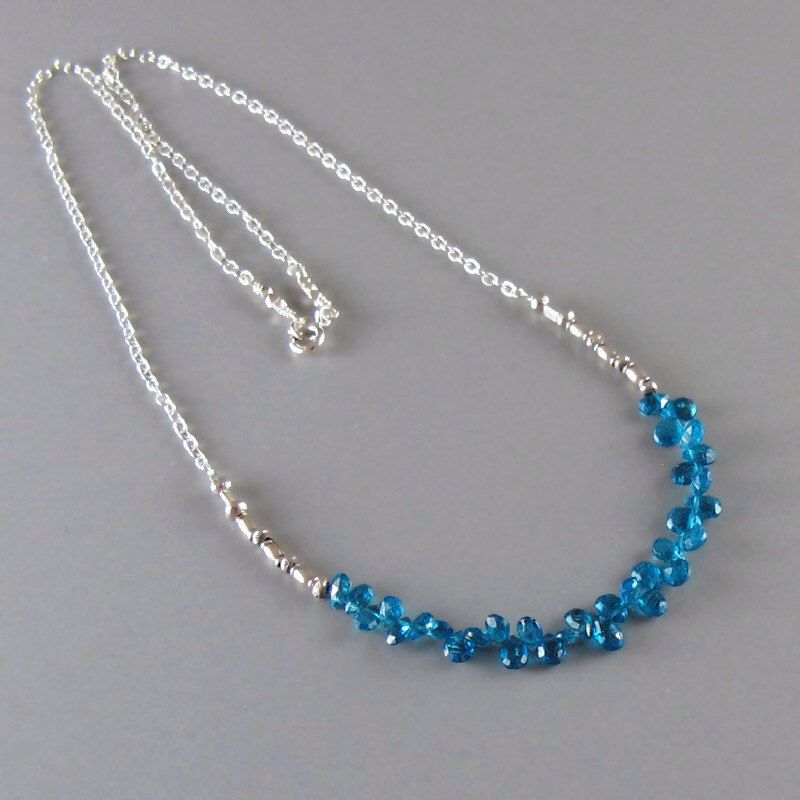 Tiny Apatite Briolette Sterling Silver Chain Necklace DJStrang Neon Blue Fine Silver Bead Boho Cottage Chic by DJStrang on Etsy https://www.etsy.com/listing/158353056/tiny-apatite-briolette-sterling-silver