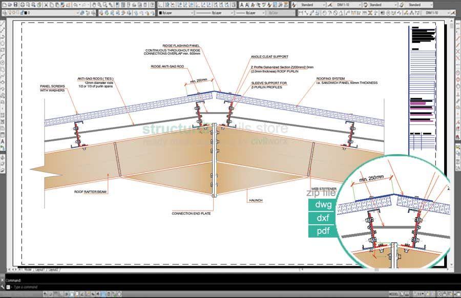 Complete Single Span Hangar Portal Frame Design Details Roof Truss Design Roof Eaves Roof Trusses