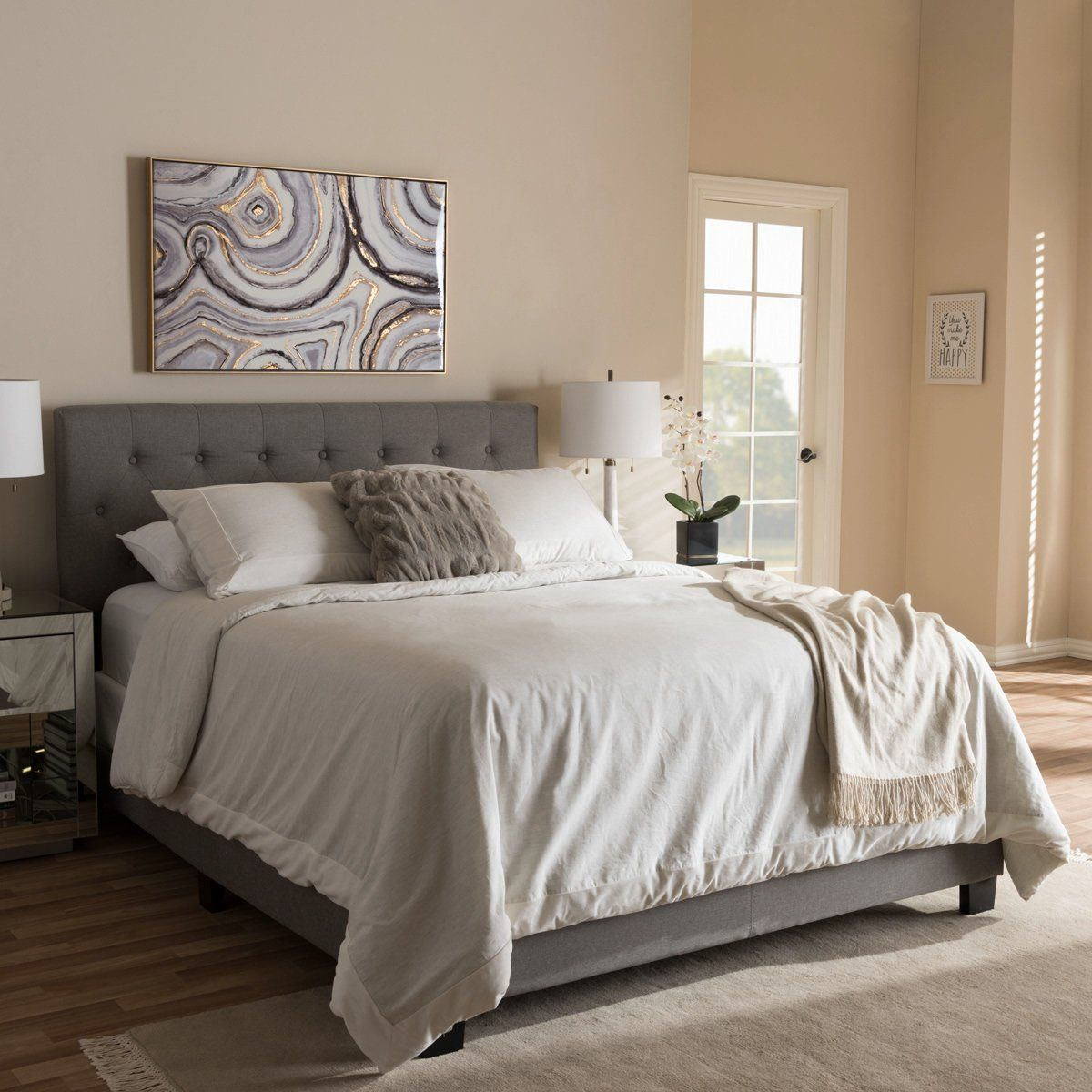 Best Baxton Studio Cassandra Light Grey Queen Size Bed 400 x 300