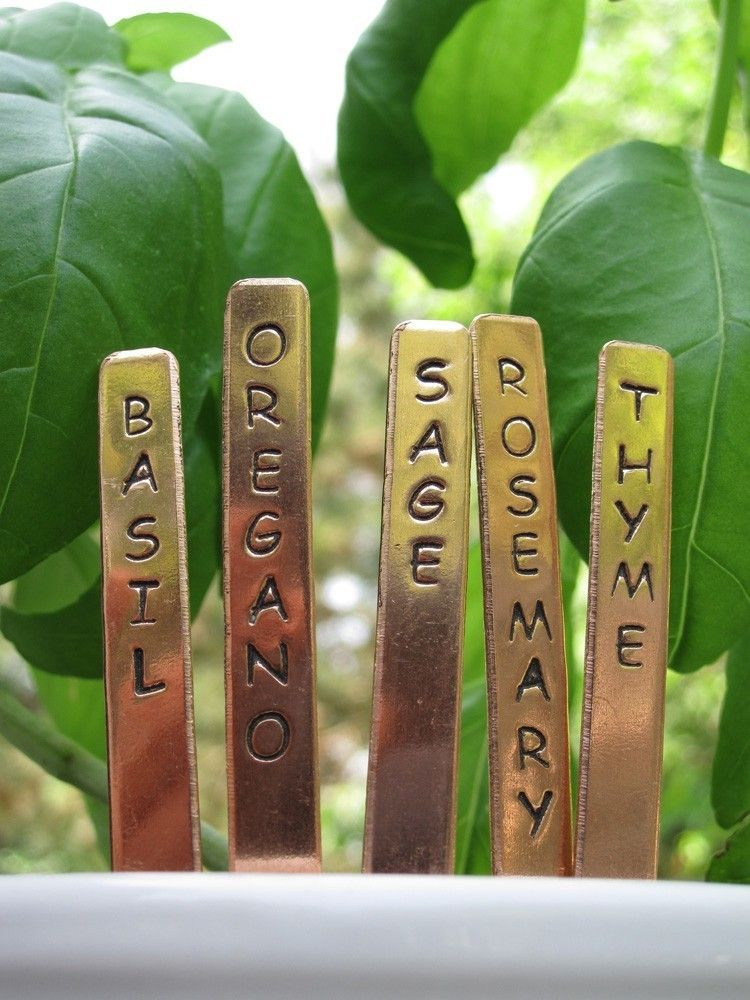 CUSTOM Copper Plant Markers   Popsicle Sticks   Garden Herb Plant Tags  Labels   Set Of