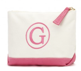 Pink Monogrammed Canvas Cosmetic Bag - BeauJax Boutique There's nothing like the simple elegance of a monogrammed, cotton canvas cosmetic bag!  This bag is just waiting for your personalized style.  Choose your favorite monogram font and thread color. www.beaujax.com