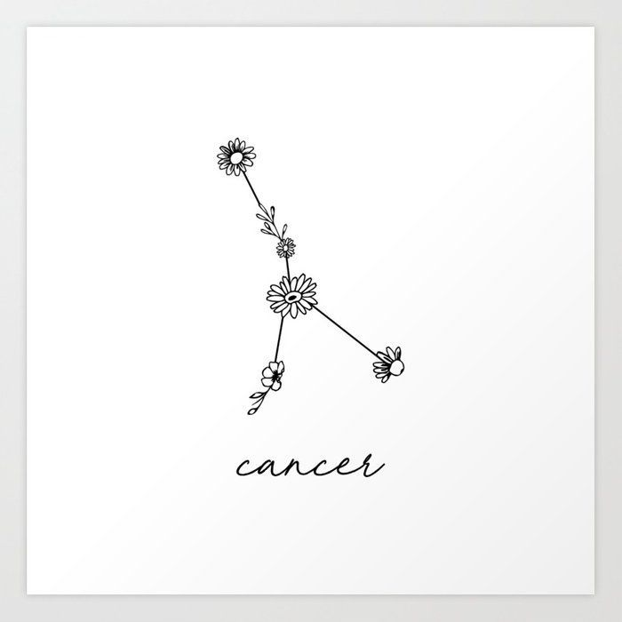 Photo of Cancer Floral Zodiac Constellation Art Print by aterkaderk | Society6  [ #Art #a…