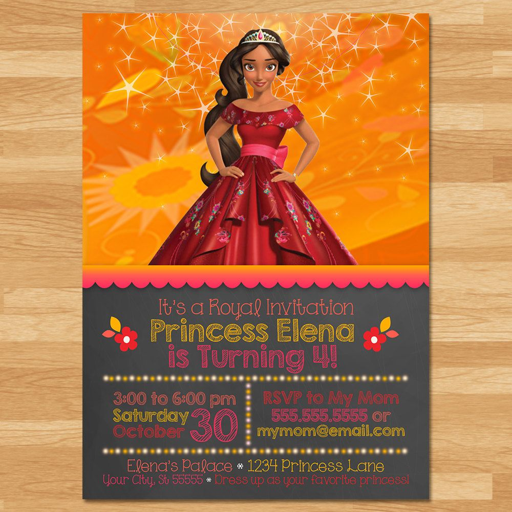 Elena of Avalor Invitation Chalkboard Elena Invite Disney – Invite a Princess to Your Party