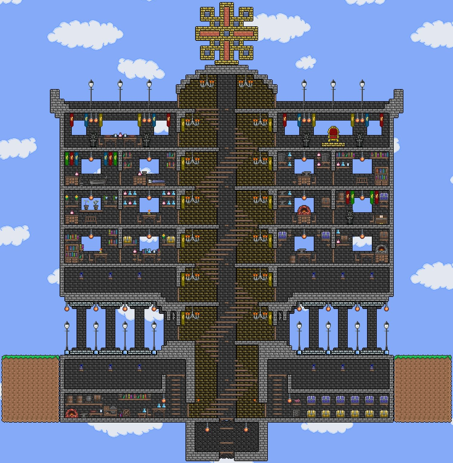 Terraria base ideas love the spiral staircase terraria for Terraria house designs
