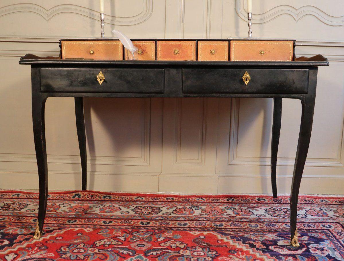 Bureau à gradin bois noirci et bronze fin régence une