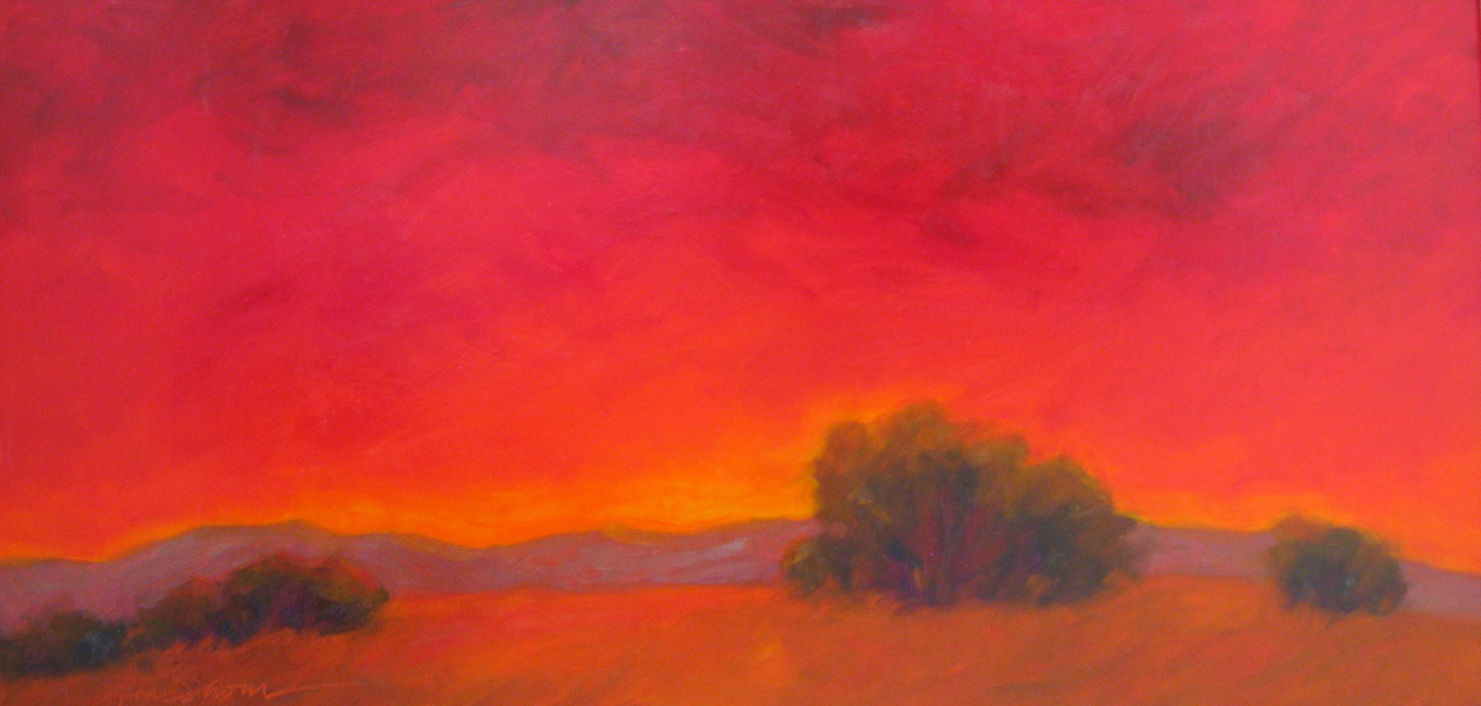 The Day Was Slow To End One Of Jean Shom S Enchanting Sundown Paintings Rich And Alluring Measures 21 X 36 Colorful Landscape Art Beat Abstract Landscape