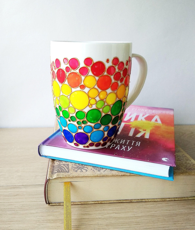 Ceramic mug rainbow gift, painted unique coffee mug, funny