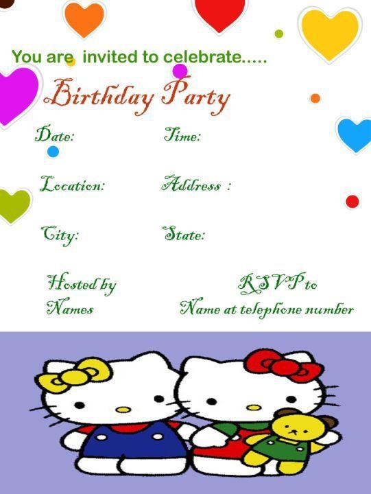 Hello kitty sample birthday invitation template Hello kitty - invitation birthday template