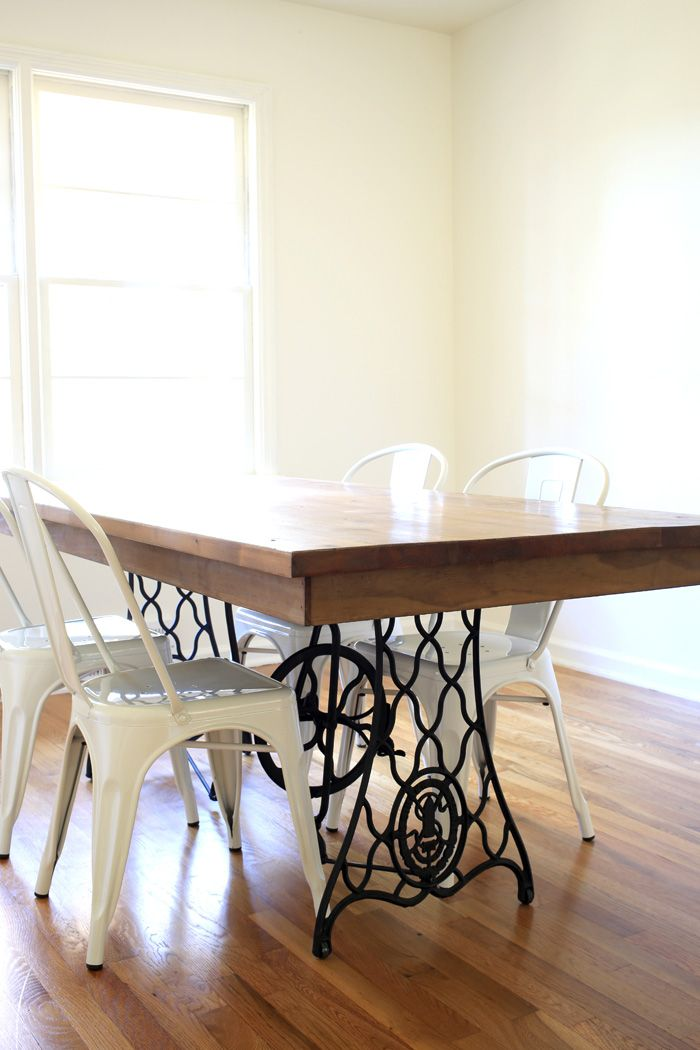 our diy dining table from an old sewing machine all sorts of pretty diy diy dining. Black Bedroom Furniture Sets. Home Design Ideas