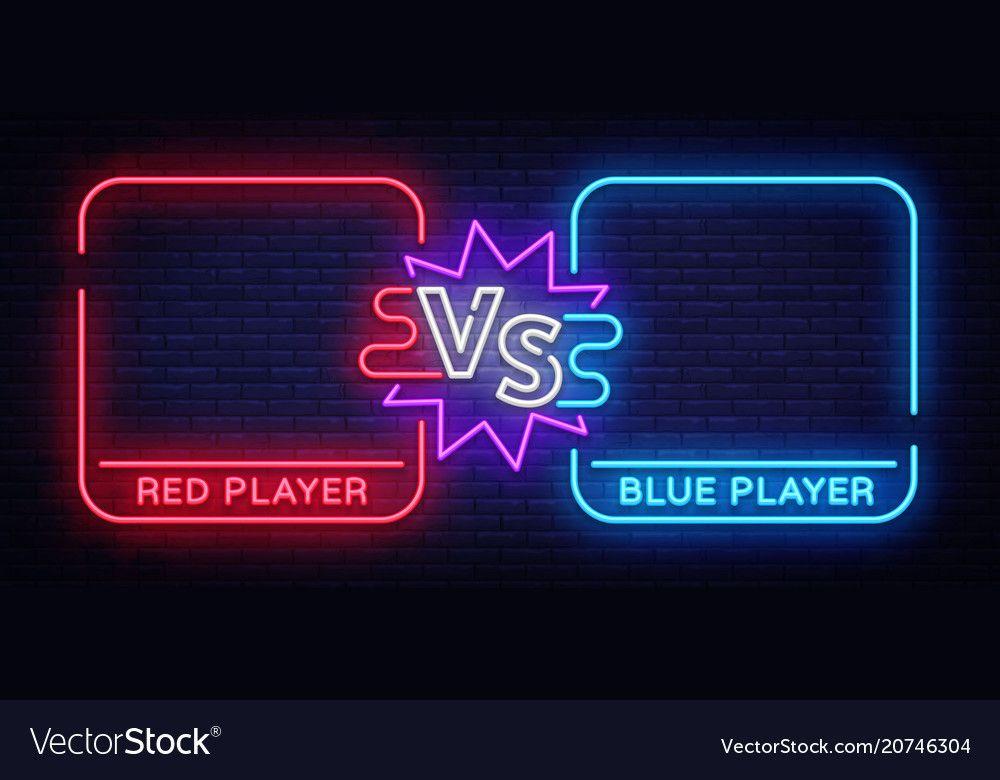 Versus Neon Banner With Square Frames Screen Vector Image On Em 2020 Ideias De Papel De Parede Planos De Fundo Logotipo Do Jogo