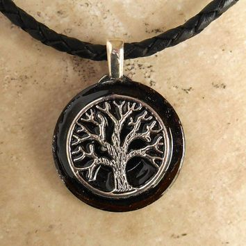 Tree of life necklace black mens necklace celtic jewelry tree of life necklace black mens necklace celtic jewelry mozeypictures Gallery