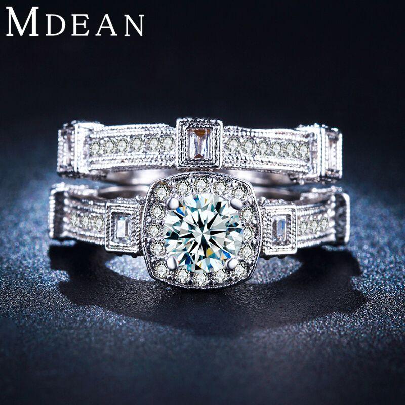 Diamanten schmuck  MDEAN Weißes gold überzogen ringe für frauen großen cz-diamanten ...