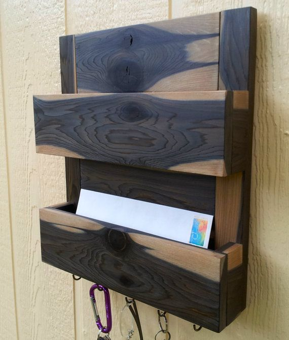 Monica No 260 Rustic Cedar 2 Pocket Mail And Key Holder Letter Organizer Entryway