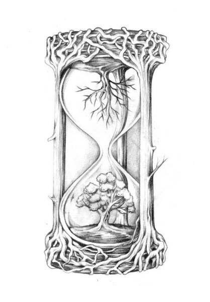 Clock Tree Tattoo Ideas Share It Tattoos Hourglass