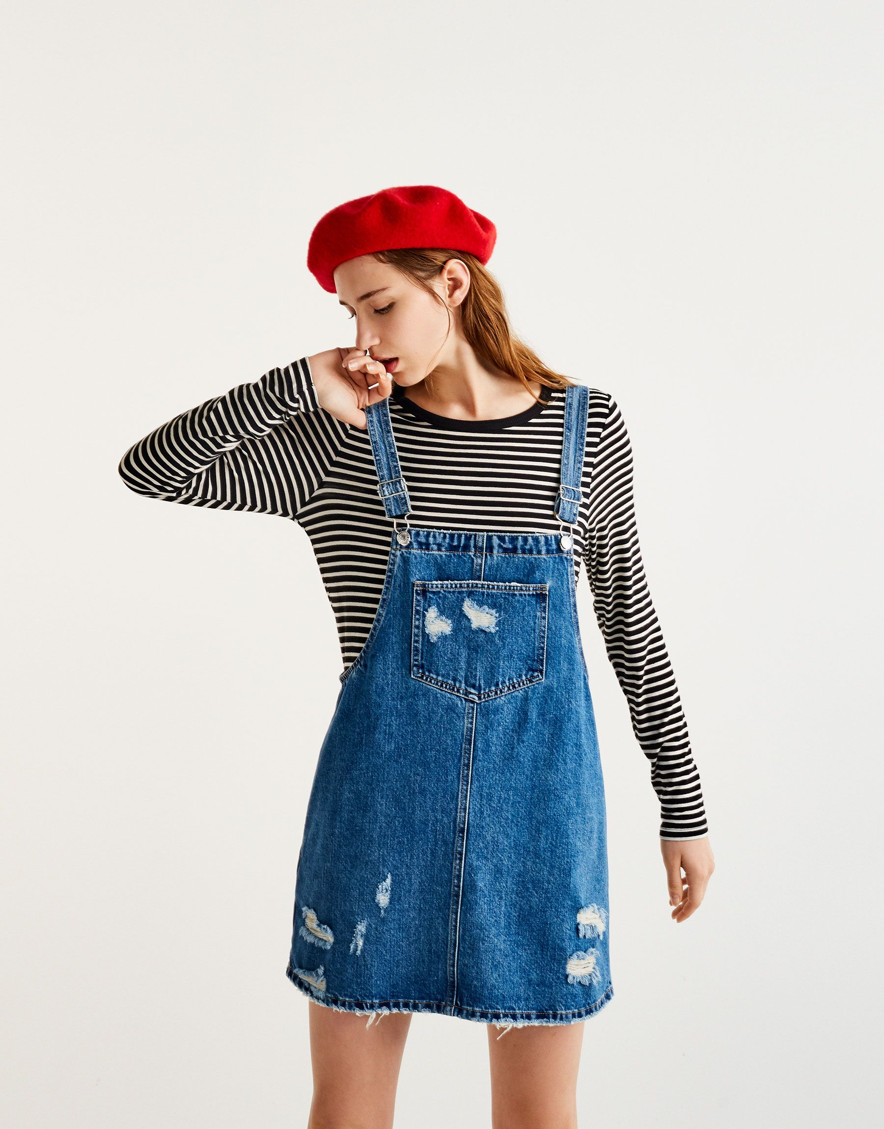 Sales promotion best place for choose clearance Ripped denim pinafore dress - Dungarees & Jumpsuits ...
