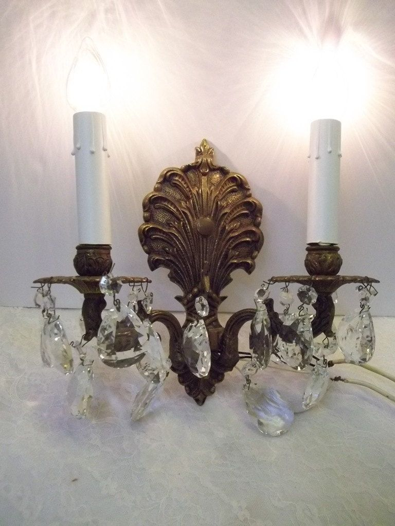 Two light bronze crystal wall sconce vintage brass crystal wall two light bronze crystal wall sconce vintage brass crystal wall sconce art nouveau shell crystal wall light two arm wall sconce dd 790 by dondilights on aloadofball Image collections