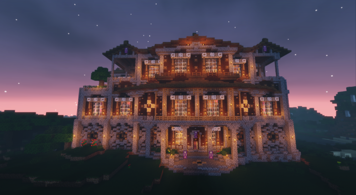 Woodland Mansion Transformation With 1080p Video Tour Minecraft Project Mansions Minecraft Bridges Minecraft Projects