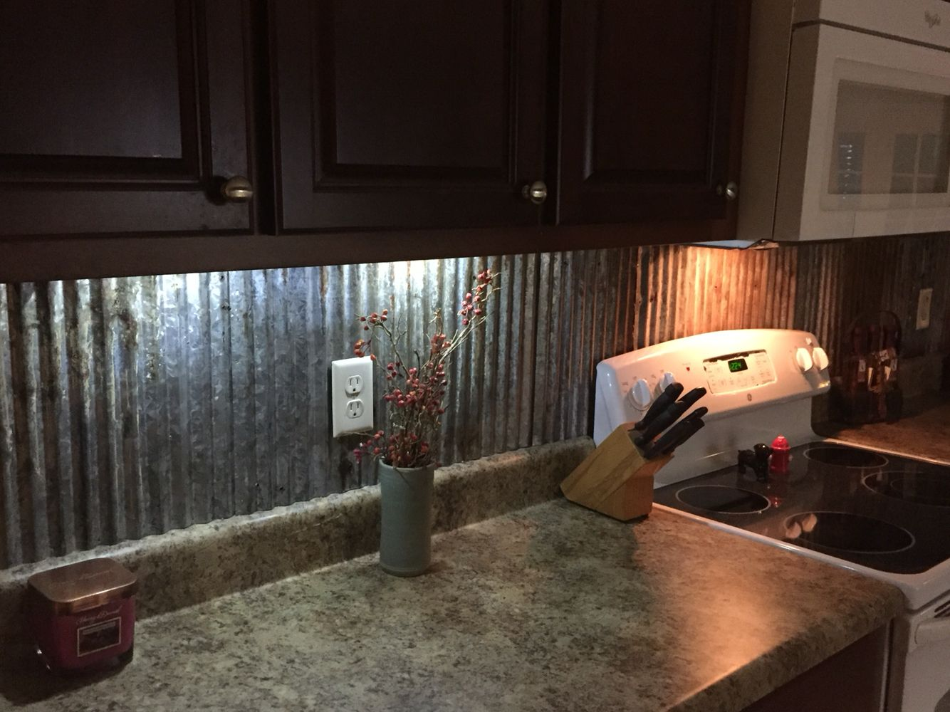 Rustic Backsplash From Reclaimed Tin Roofing Rustic Kitchen