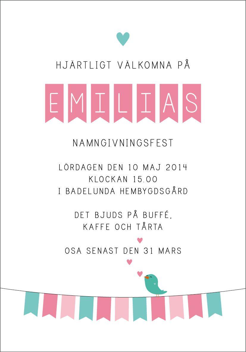 Anna Göran Design - Flaggspel Ett nytt inbjudningskort till dop 23b92884e2a04