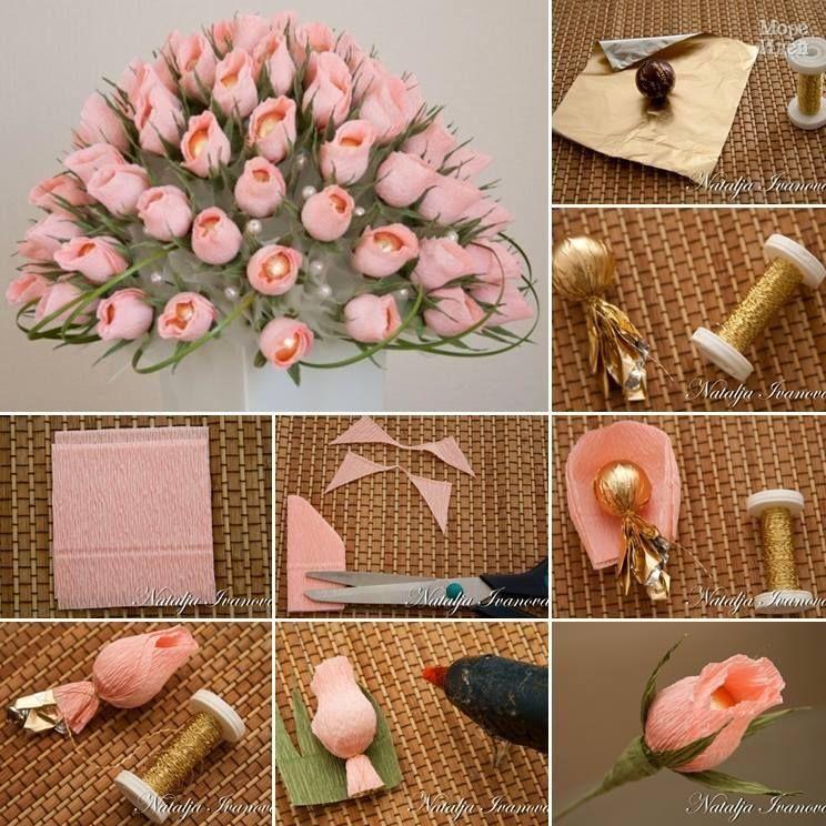 Mazzo Di Fiori Fai Da Te.Tutorial Mazzo Di Rose E Cioccolatini Come Fare Fiori Di Carta