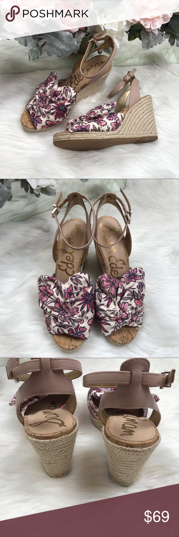 825ce93c21ad Sam Edelman Pink Aubrey Wedge Sandals Sz 8 NWOB Sam Edelman Pink Aubrey  Wedge Sandals Sz