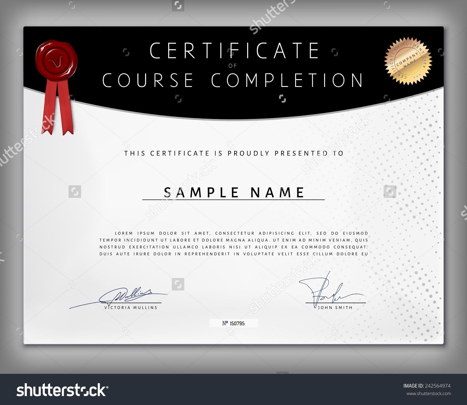 Certificate Of Computer Programming Course Completion On Dotted