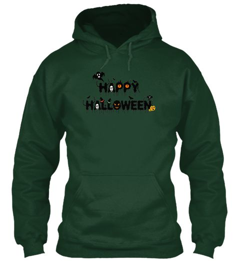 Happy Halloween Forest Green T-Shirt Front