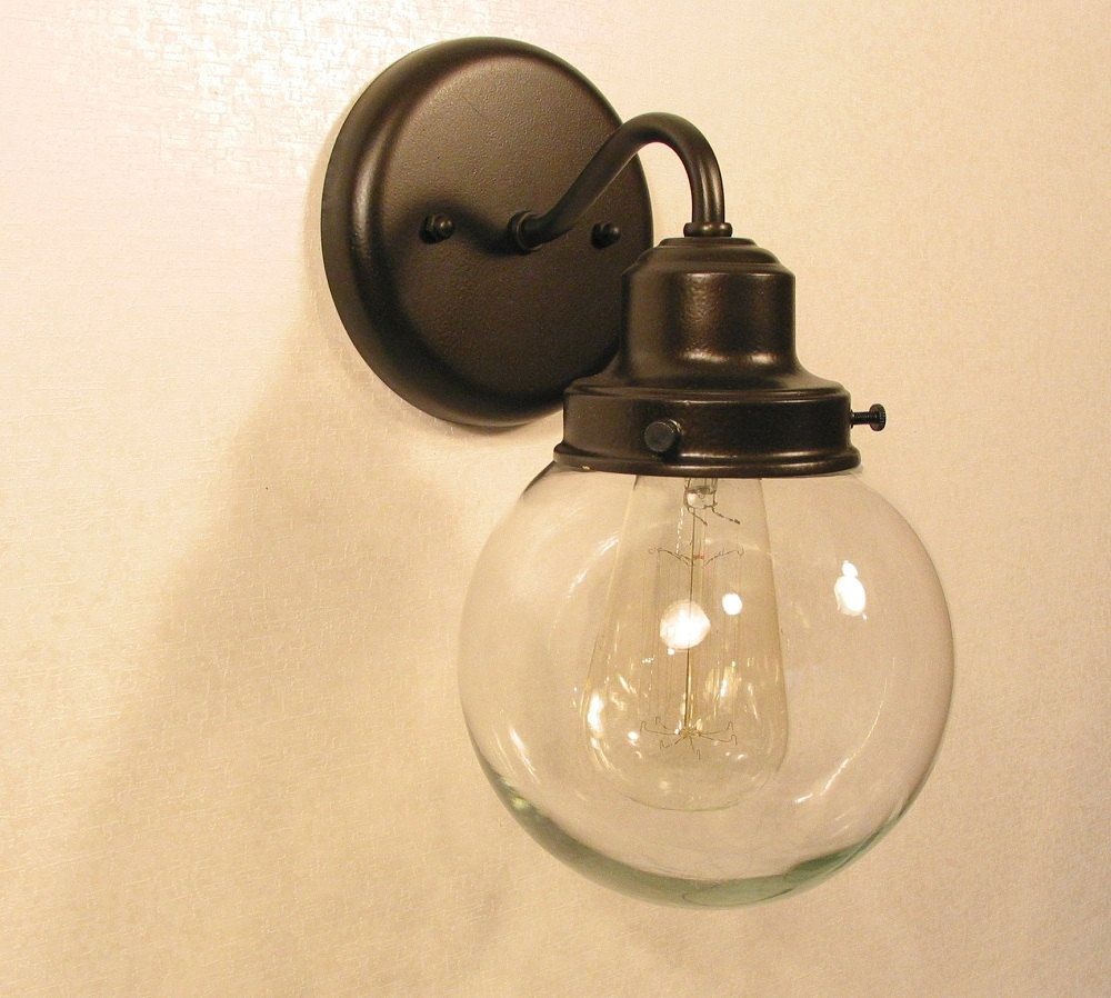 Biddeford Ii Glass Wall Light With Edison Bulb Sconce Flush Mount Lighting Fixture Farmhouse