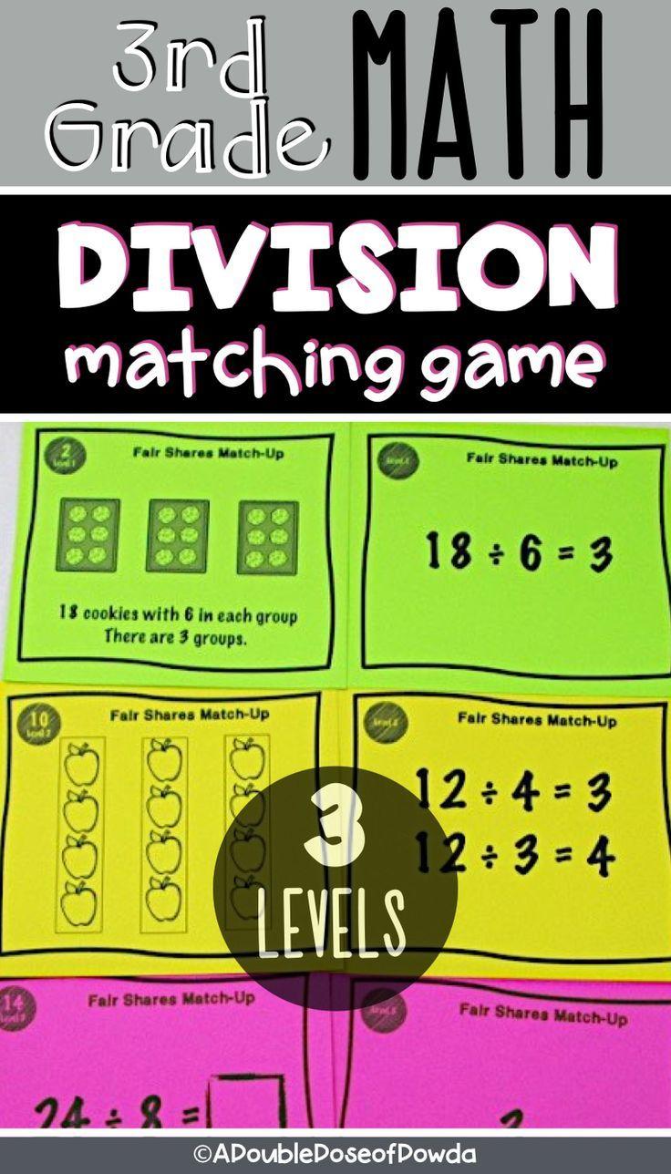 Basic Division Matching Activity Game Elementary math