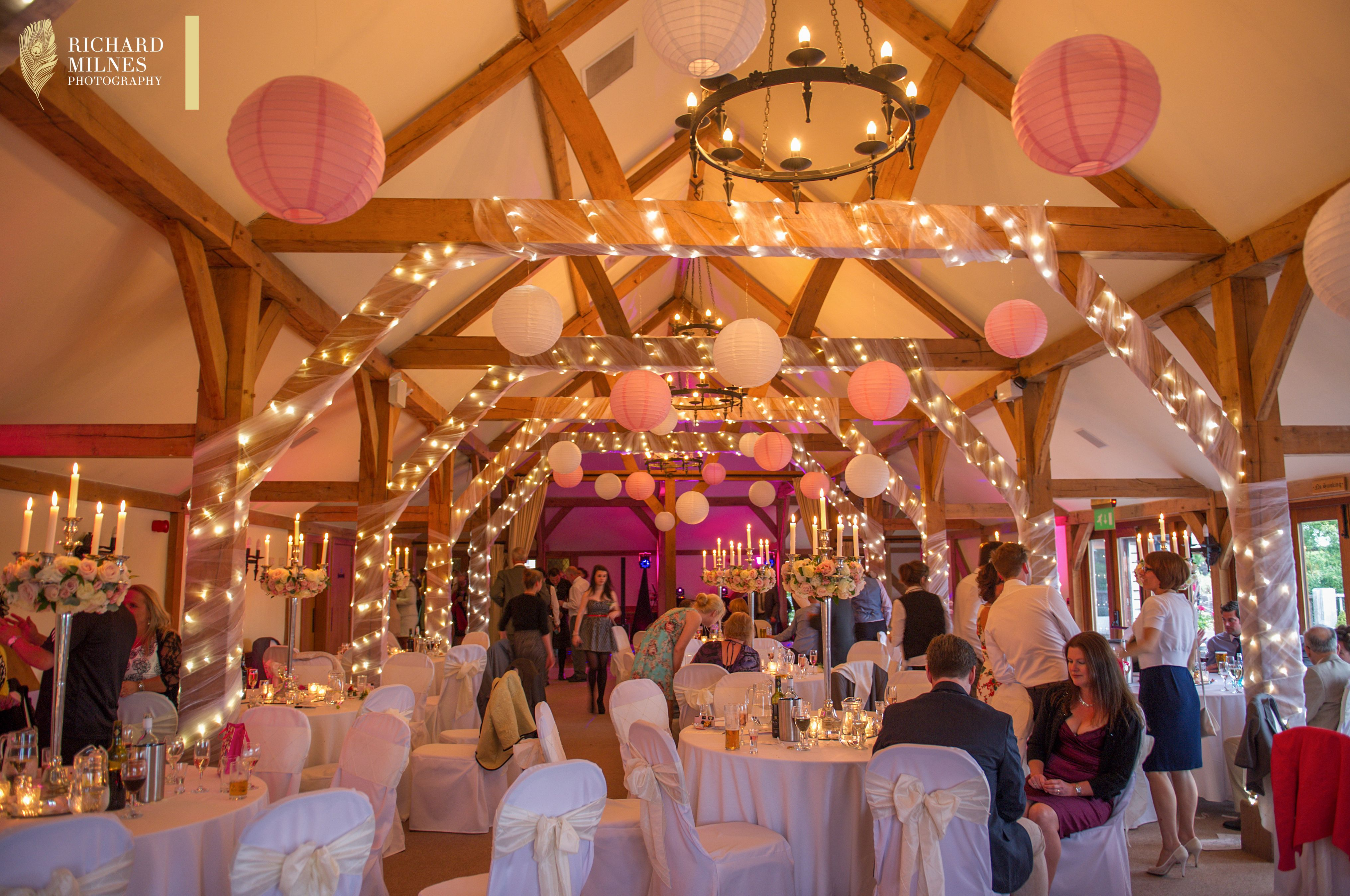 Hanging lights wedding decor  Feminine romance with a little sparkle  dot in some baby pink and