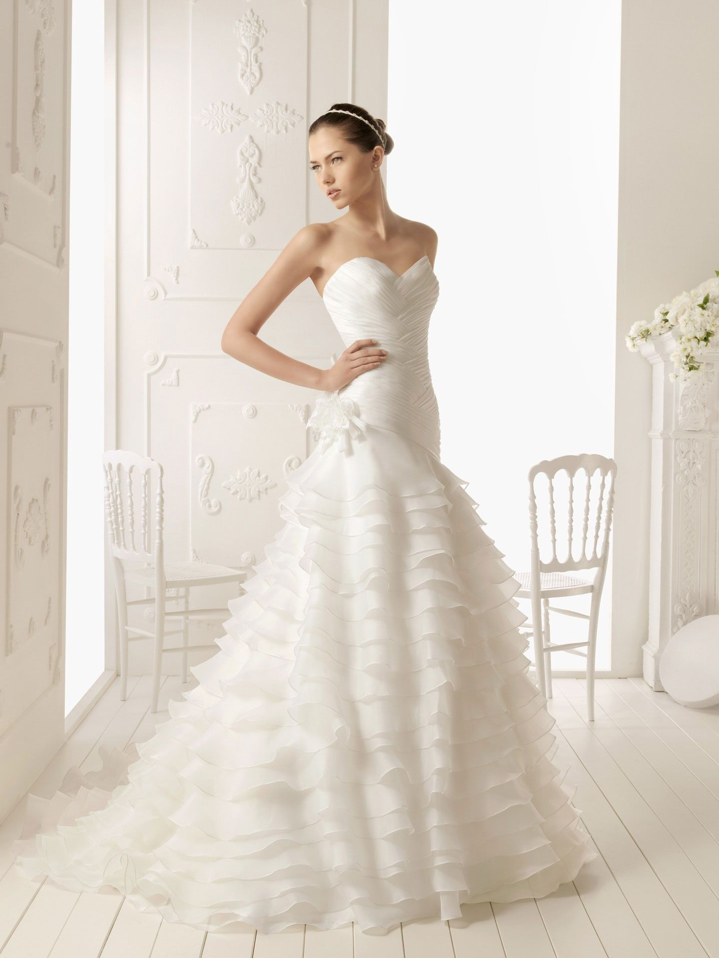 Wedding dresses with ruffles on skirt  organza  lush green  Pinterest  Uk online