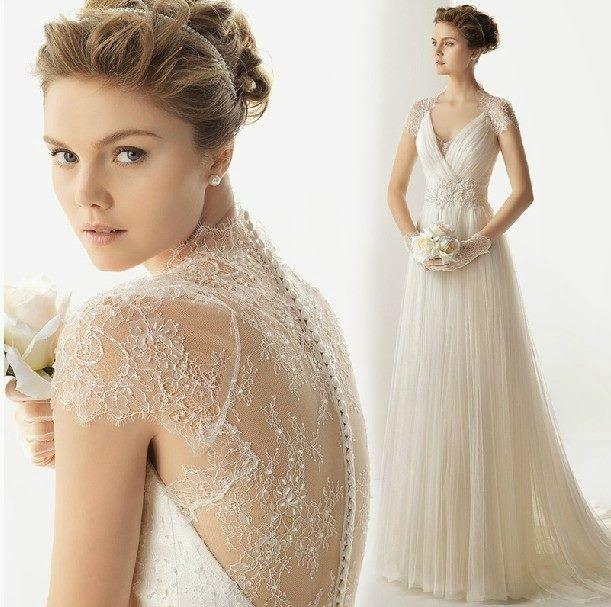 Vintage Cap Sleeve Wedding Dress | Above is a vintage lace wedding ...