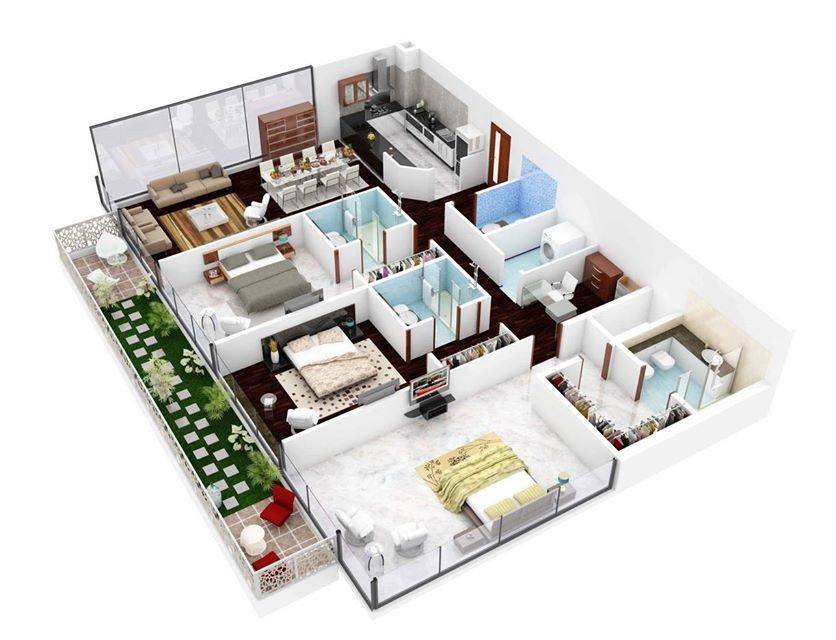 Fifty 3 Bedroom Apartmenthouse Plans2 Home Designing  Timeline Fascinating 3 Bedroom Apartment Design Review