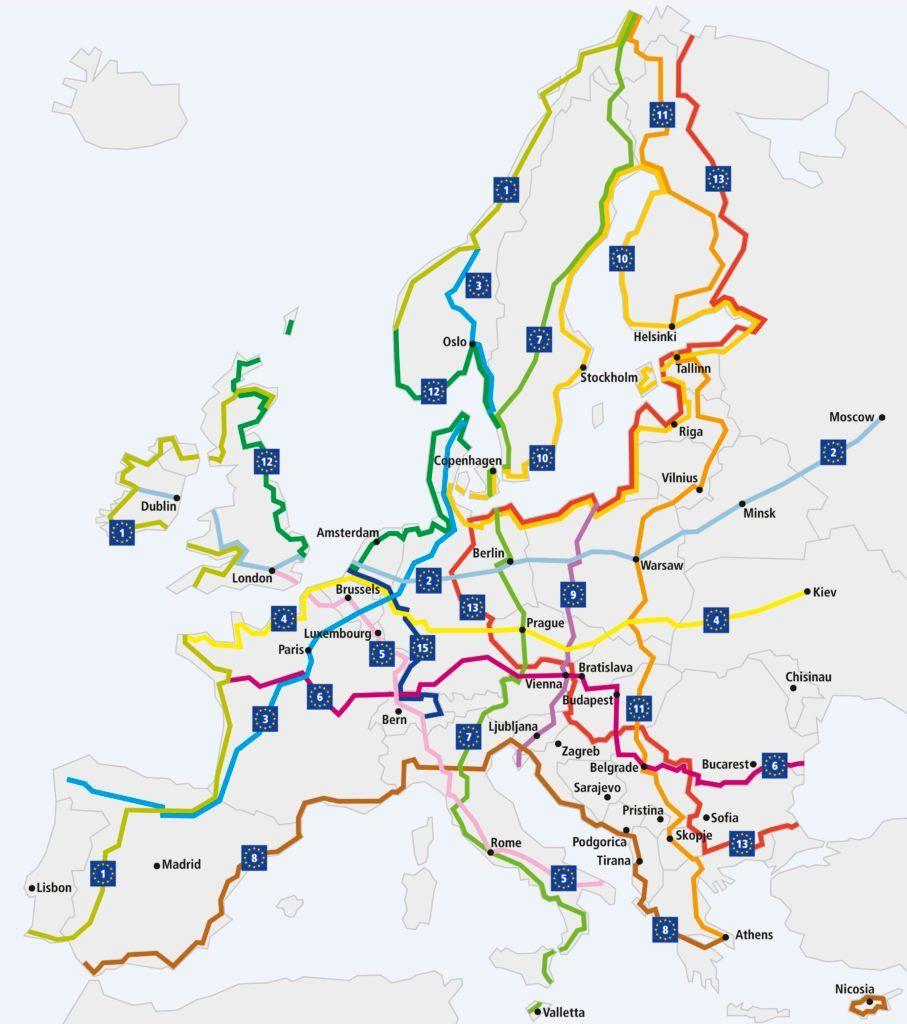 Eurovelo Karte Original Fiets Vakantie Fietstochten Fietsen