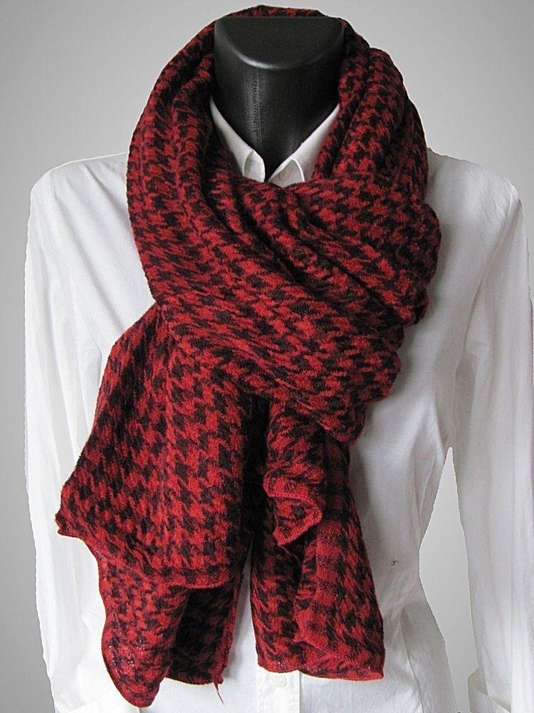 c6ded3372bb967 Herbst & Winter Schal Damen & Herren Strickschal Hahnentritt - schwarz rot  Damen Accessoires, Kleidung